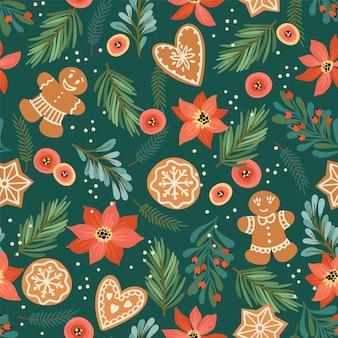 ジンジャーブレッドとクリスマスと新年あけましておめでとうございますシームレスパターン。