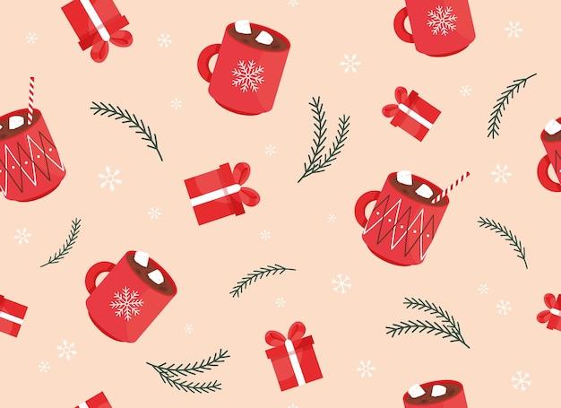 クリスマスと新年あけましておめでとうございますシームレスパターン