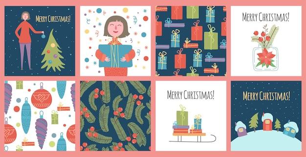 クリスマスと新年あけましておめでとうございますテンプレート。トレンディなレトロスタイル。あなたのビジネスのためのベクトルデザイン要素。休日のイラスト。