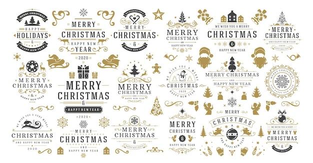 Рождества и счастливого нового года желает этикетки и значки набор иллюстраций.