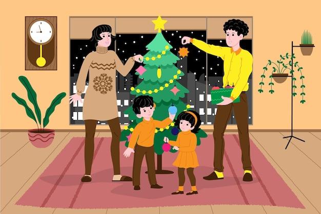 크리스마스와 새해. 아이들이 있는 가족은 집에서 장난감으로 크리스마스 트리를 장식하고 휴가를 준비합니다. 방문 페이지 또는 온라인 상점 웹사이트에 대한 그림입니다. 귀여운 벡터 평면 이미지입니다.