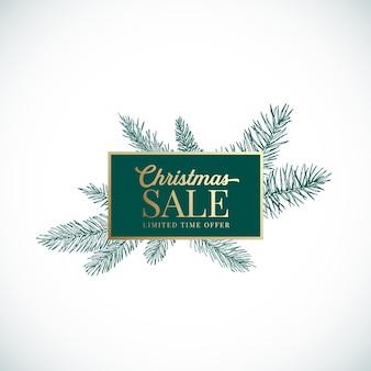사각형 프레임 배너와 현대 인쇄 술과 크리스마스와 새 해 추상 식물 카드. 프리미엄 황금 배너 및 녹색 소나무 가문비나무 스케치 레이아웃. 외딴