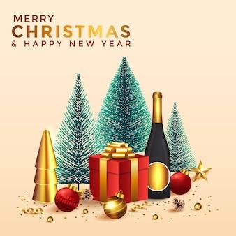 クリスマスと新年の背景。クリスマスツリーと休日の要素を持つ抽象的なクリスマスの構成。明るい冬の休日の構成。グリーティングカード、バナー、ポスター。図