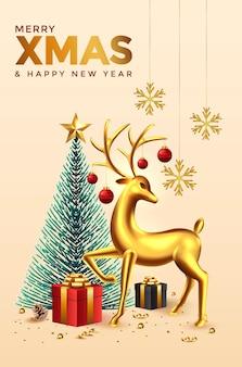 クリスマスと新年の背景。クリスマスツリー、鹿、休日の要素を持つ抽象的なクリスマスの構成。明るい冬の休日の構成。グリーティングカード、バナー、ポスター。図