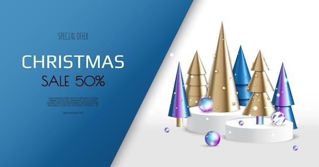 クリスマスと新年の背景。コニカルゴールドのクリスマスツリー。冬休みの構成。グリーティングカード、バナー、ポスター、ウェブサイトのヘッダー