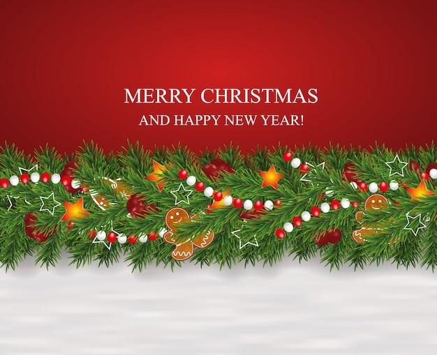 クリスマスと新年の背景は、クリスマスツリーの枝、ベリー、星、ジンジャーブレッドクッキー、ビーズで花輪を飾りました。