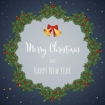 花輪ベクトルイラストとクリスマスと新年の背景グリーティングカード