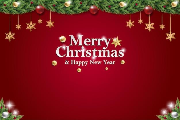 クリスマスと新年の背景posteソーシャルメディアは赤の招待イベントの広告を投稿します