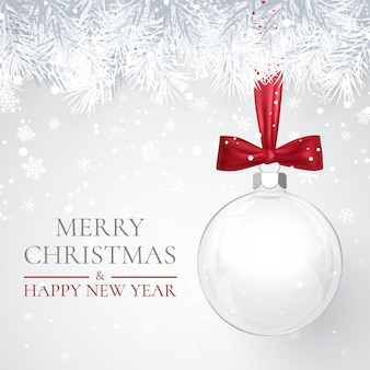 Рождество и новогодний фон с синими елочными шарами, еловой веткой и снегом на рождество