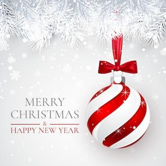 クリスマスと新年の背景、クリスマスボール、モミの枝、クリスマスの雪