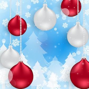 赤いボールと銀のクリスマスと新年の背景