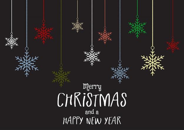 Рождество и новый год фон со снежинками