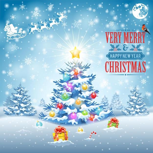 눈 덮인 배경에 나무, 선물, 리본, 눈송이 및 멋쟁이 새의 일종으로 크리스마스와 새 해 배경. 표지, 전단지, 브로셔, 인사말 카드 벡터 일러스트 템플릿