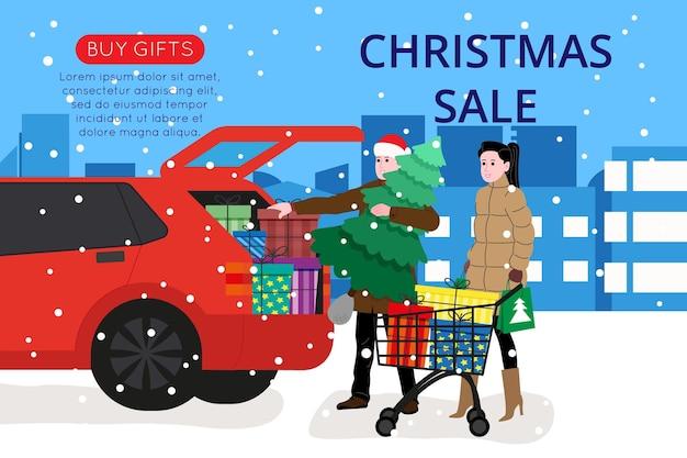방문 페이지 또는 온라인 상점 웹사이트를 위한 크리스마스 및 새해 배너입니다. 박람회나 슈퍼마켓에서 남녀가 선물과 크리스마스 트리를 사서 차에 싣습니다. 귀여운 벡터 평면 이미지입니다.