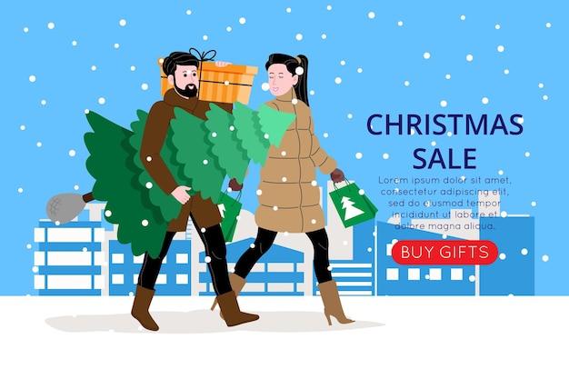 ランディングページまたはオンラインストアwebサイトのクリスマスと新年のバナー。男の子と女の子または夫婦はクリスマスセールから買い物に行きます。かわいいベクトルフラット画像。