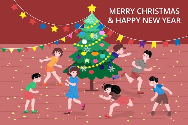 방문 페이지 또는 온라인 상점 웹사이트를 위한 크리스마스 및 새해 배너입니다. 어린 아이들은 실내에서 크리스마스 트리 주위에서 따라잡기 놀이를 합니다. 귀여운 벡터 평면 이미지입니다.