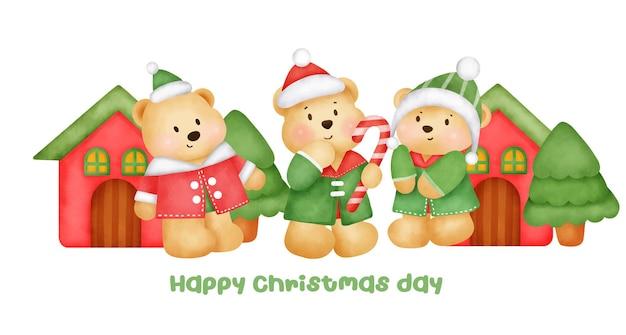 水彩風のかわいいクマのキャラクターとクリスマスと新年のバナー。