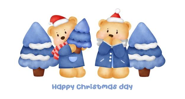 수채화 스타일의 귀여운 곰 캐릭터가 있는 크리스마스와 새해 배너.