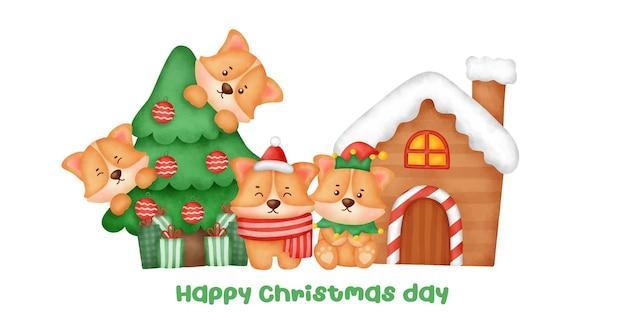 수채화 스타일의 귀여운 코기 개와 크리스마스 트리가 있는 크리스마스와 새해 배너.