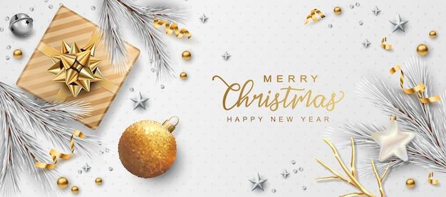 Рождество и новый год баннер с праздничными украшениями