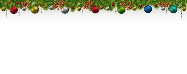モミの木、花輪、果実とクリスマスと新年のバナー。クリスマスカード、チラシ、またはサイトヘッダー。