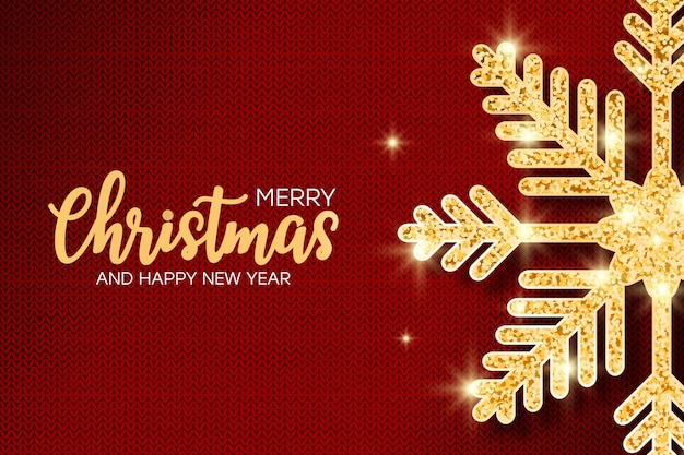 Рождество и новогодний баннер с блестящей золотой снежинкой на красной вязанной текстуре holid