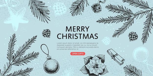 手描きの要素とクリスマスと新年のバナー