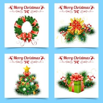 Рождественские и новогодние баннеры с елкой, лентами, подарками, венком, этикетками и колоколом.