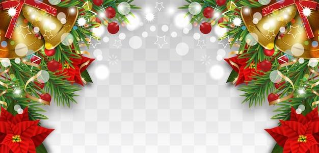 Рождественские и новогодние украшения границы с еловыми ветками, золотыми колокольчиками, рождественскими цветами пуансеттия и ягодами падуба. элемент дизайна для рождественской открытки на прозрачном фоне.