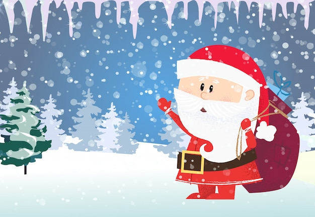 クリスマスと新年のカードのテンプレート。サンタクロースのプレゼントを運ぶ