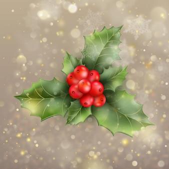 Рождественская и новогодняя открытка с ягодами. а также включает в себя