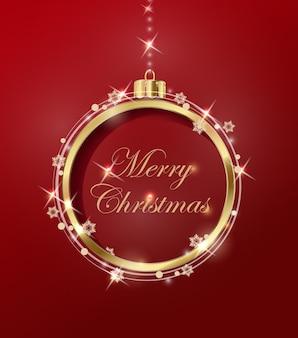 クリスマスボールと黄金の雪片が付いたクリスマスと年賀状。ベクトルテンプレート。 eps
