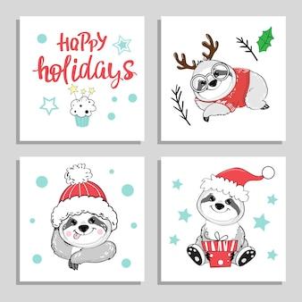 Рождественские и новогодние открытки с забавными медведями-ленивцами. векторные иллюстрации шаржа для зимних праздников
