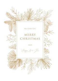松の木の枝と円錐形のクリスマスと年賀状。手で書いた