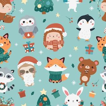 森の動物とクリスマスと新年の幼稚なシームレスパターン