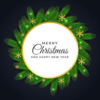 녹색 잎 크리스마스와 새 해 원형 프레임 디자인