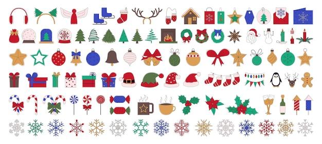 Рождественские и новогодние цветные наклейки