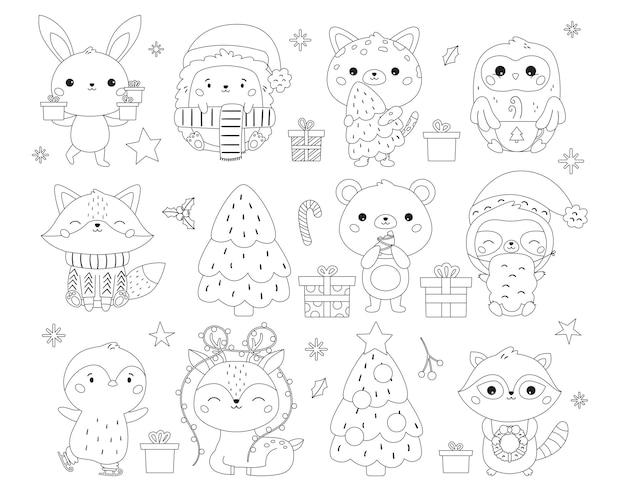 귀여운 동물 선물과 과자가 있는 크리스마스와 새해 색칠 페이지