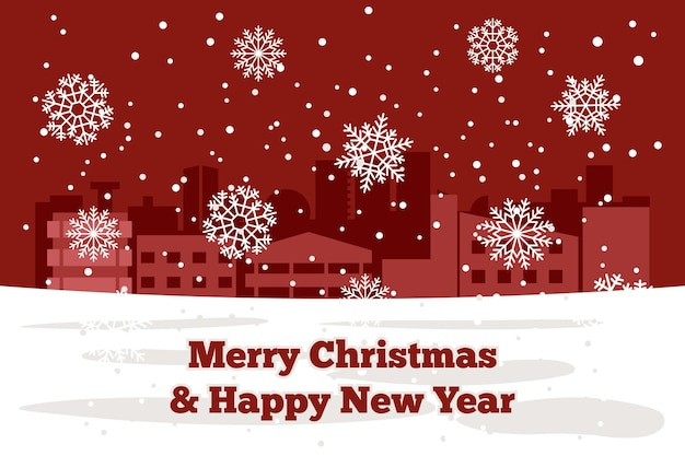 빛나는 하얀 눈송이와 겨울 도시를 갖춘 크리스마스와 새해 우아한 배경. 벡터 일러스트 레이 션.