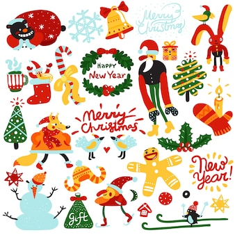 Рождество и новогодние элементы Бесплатные векторы