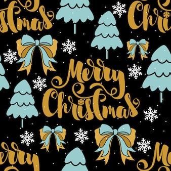 さまざまな要素で紙や布を包むためのクリスマスと新年のお祝いのシームレスなパターン。ファッショナブルなビンテージスタイル。