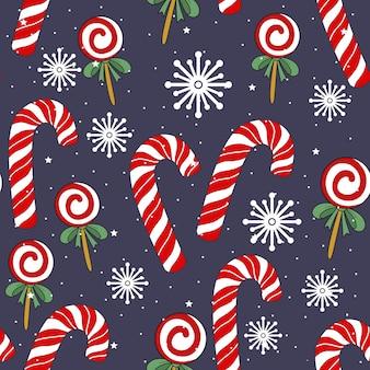 Рождественские и новогодние праздничные бесшовные модели для оберточной бумаги или ткани с различными элементами. модный винтажный стиль.