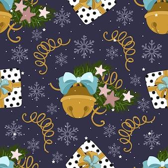 さまざまな要素で紙や布を包装するためのクリスマスと新年のお祝いのシームレスなパターン