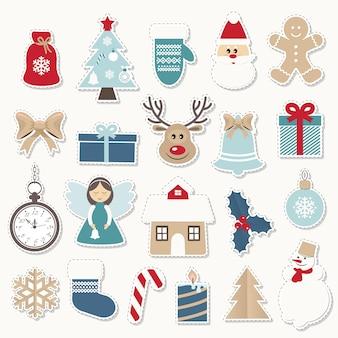 Рождественские и новогодние праздничные наклейки установлены.
