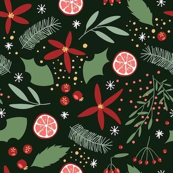 포장지 또는 직물 디자인을위한 크리스마스와 새 해 꽃 원활한 패턴