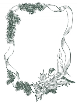 クリスマスと新年の鳥のフレーム