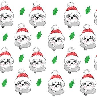 Рождественские и новогодние забавные мишки-ленивцы. векторные иллюстрации шаржа для зимних праздников бесшовные модели