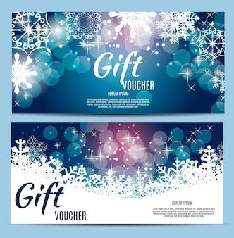 Рождественский и новогодний подарочный сертификат, набор шаблонов скидочных купонов, векторные иллюстрации