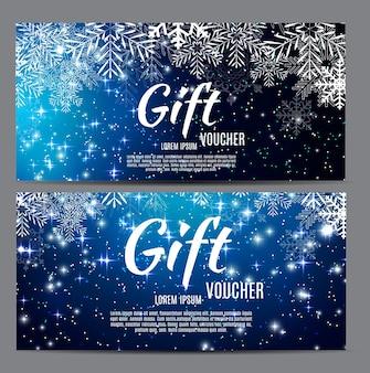 Рождественский и новогодний подарочный сертификат, векторная иллюстрация eps10 купона на скидку