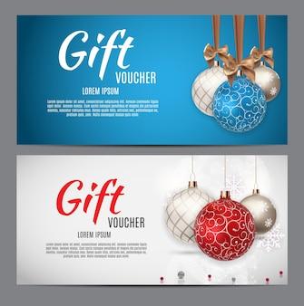 クリスマスと新年のギフト券、割引クーポンテンプレートベクトルイラストeps10